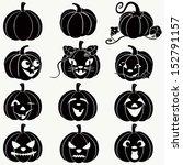 halloween pumpkins.  vector set ... | Shutterstock .eps vector #152791157