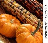 Pumpkins And Indian Corn Close...