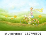 a girl on a bicycle   Shutterstock . vector #152795501