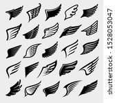 wings set. collection icon... | Shutterstock .eps vector #1528053047