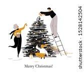 happy cartoon family decorates... | Shutterstock .eps vector #1528142504