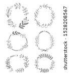 elegant floral wreaths on white ... | Shutterstock .eps vector #1528208567