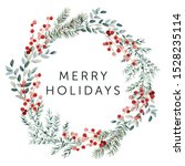 merry christmas wreath with... | Shutterstock .eps vector #1528235114