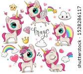 set of cute cartoon unicorns... | Shutterstock .eps vector #1528286117
