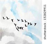 watercolor painting of birds in ...   Shutterstock . vector #152829911