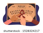 ouija board. communicating with ... | Shutterstock .eps vector #1528324217