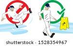slippery walk worker wet floor | Shutterstock .eps vector #1528354967