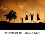 silhouettes of happy parents...   Shutterstock . vector #152845334