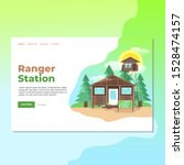 Landing page template of Ranger Station. Modern flat design concept of web page design for website and mobile website. Easy to edit and customize. Vector illustration