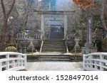 Stock photo torii traditional japanese gate at the entrance to a shinto shrine somewhere in rural japan all 1528497014