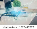 multi exposure of graph with... | Shutterstock . vector #1528497677