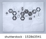 medical network on crumpled... | Shutterstock . vector #152863541