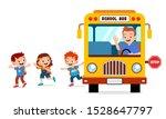 happy cute kids ride bus from... | Shutterstock .eps vector #1528647797