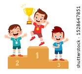 happy cute kid win game gold... | Shutterstock .eps vector #1528647851