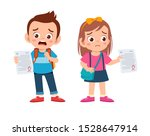 sad kids have bad mark from exam   Shutterstock .eps vector #1528647914