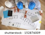 upper view of architects... | Shutterstock . vector #152876009