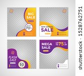 Templates set social media post for fashion sale ad, design with gradient color