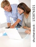 business team calling client on ... | Shutterstock . vector #152876321