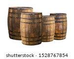 Background Oak Barrels Set In A ...