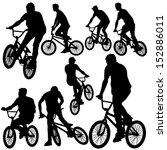 ride bike silhouette vector | Shutterstock .eps vector #152886011