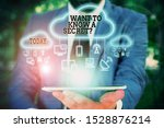 Small photo of Text sign showing Want To Know A Secret Question. Conceptual photo to divulge a confidential vital information Male human wear formal work suit presenting presentation using smart device.