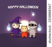 cute happy halloween characters ... | Shutterstock .eps vector #1528888367