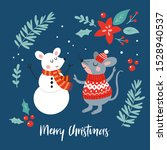 christmas holiday cute mouse... | Shutterstock .eps vector #1528940537