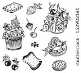 muffins and cakes  black vector ... | Shutterstock .eps vector #152903165