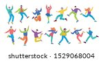 set of happy jumping young...   Shutterstock .eps vector #1529068004