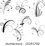 set of swirly design elements | Shutterstock .eps vector #15291700
