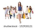 attractive shopping women walk... | Shutterstock . vector #152920121
