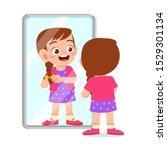 happy cute kid girl use mirror... | Shutterstock .eps vector #1529301134