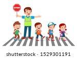 Happy Good Man Help Kids Cross...