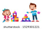 happy cute kids play brick... | Shutterstock .eps vector #1529301221
