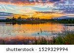 Sunset Rural River Landscape....