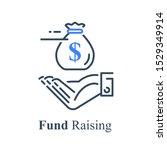 hand holding money bag ... | Shutterstock .eps vector #1529349914