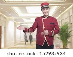 portrait of bellhop  greeting | Shutterstock . vector #152935934