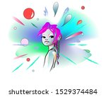 Abstract Watercolor Portrait Of ...