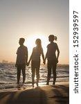 family holding hands on the... | Shutterstock . vector #152939597
