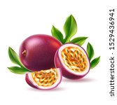 realistic passionfruit with... | Shutterstock .eps vector #1529436941