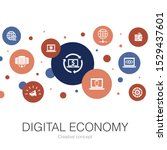 digital economy trendy circle...