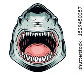 colorful aggressive shark head... | Shutterstock .eps vector #1529450357