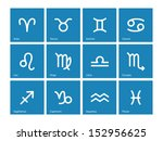 zodiac icons on blue background....