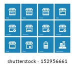 shop icons on blue background....