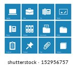office icons on blue background.... | Shutterstock . vector #152956757