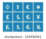 exchange rate icons on blue...