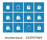 shopping bag icons on blue...