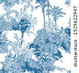 Seamless Pattern Cobalt Blue...