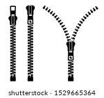 zipper sign set silhouette. set ... | Shutterstock .eps vector #1529665364