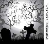 spooky halloween cemetery with... | Shutterstock .eps vector #152975174